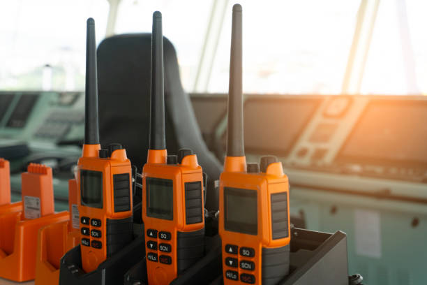 The walkie talkie putting on the ship's bridge for communication onboard. stock photo