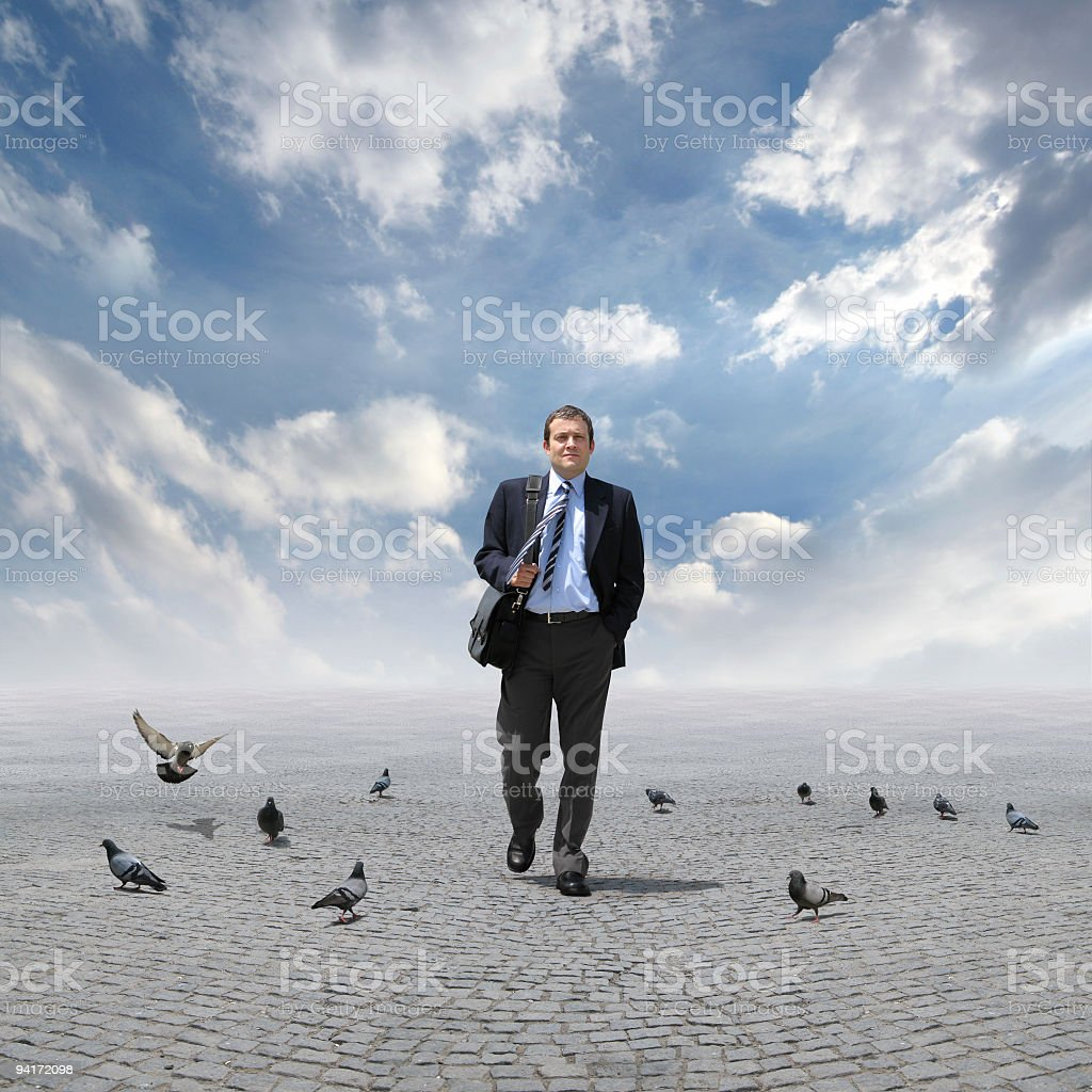The Walking Man And Doves (Ver.2) royalty-free stock photo