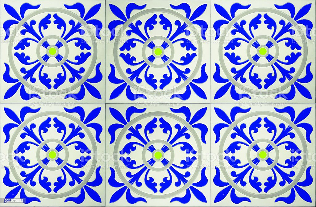 The wall are decorated with colorful of tiles. photo libre de droits