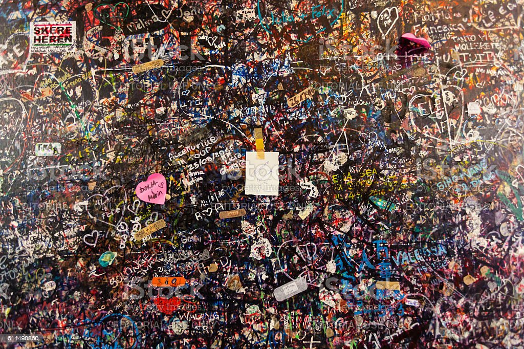 The wall full of messages  from lovers in Juliet house, stock photo