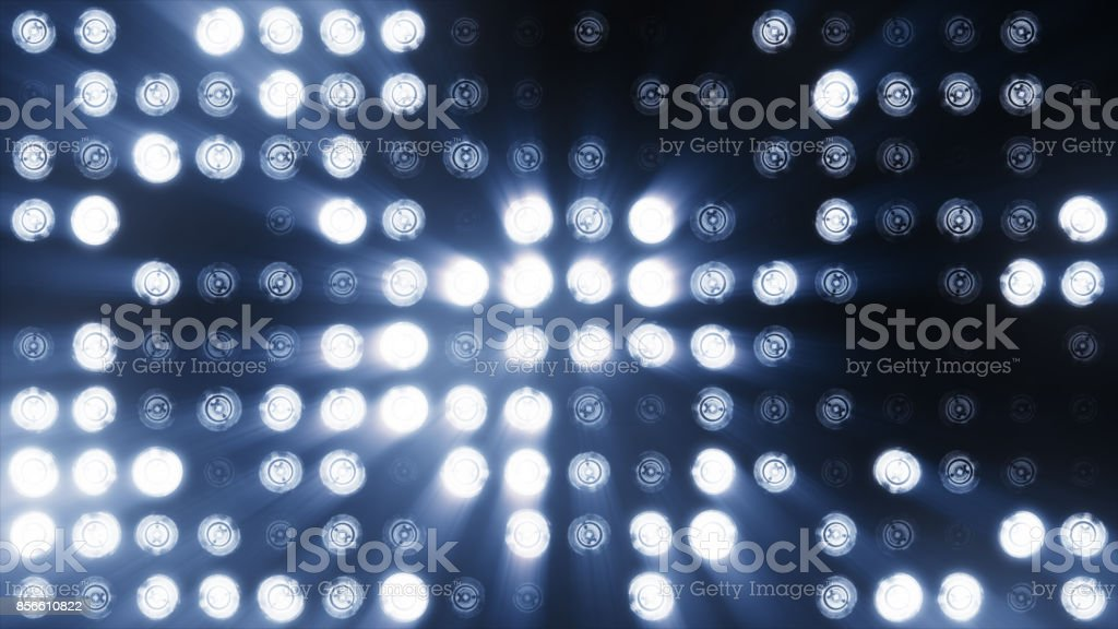 The wall of LED lamps is cold blue stock photo