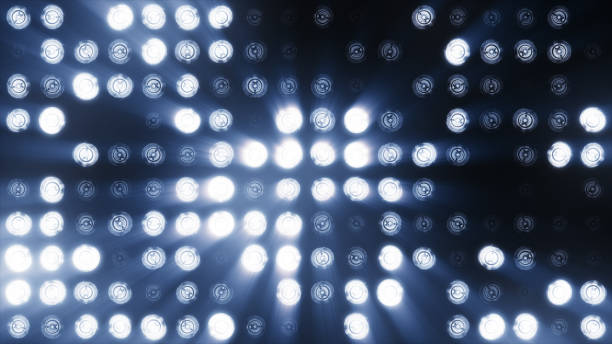 the wall of led lamps is cold blue - stage light stock pictures, royalty-free photos & images