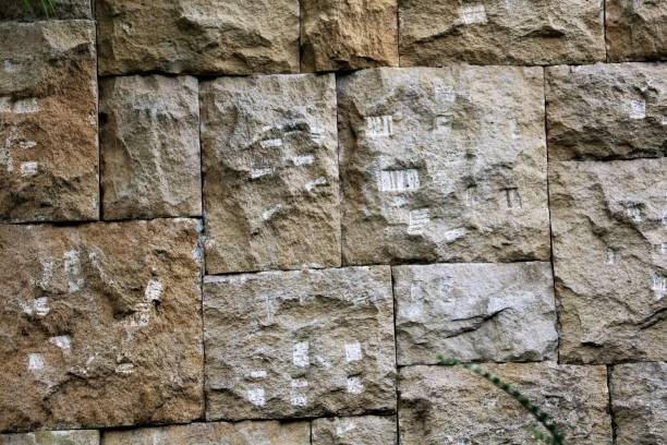 the wall of the large stone blocks, with a pattern. background. texture. - granite rock stock photos and pictures
