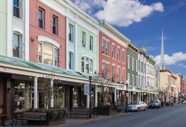 The Wall Street Lined with Colorful Row Houses (Townhouses), Historic Street in Kingston, Hudson Valley, New York. stock photo
