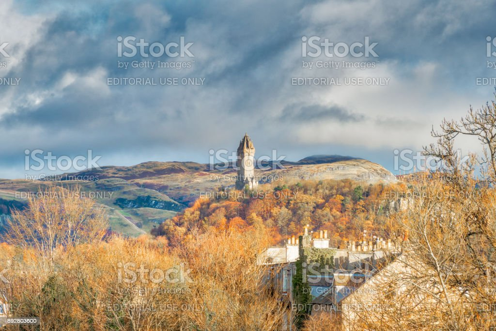 The Wallace Monument from The Old Stirling Bridge. stock photo
