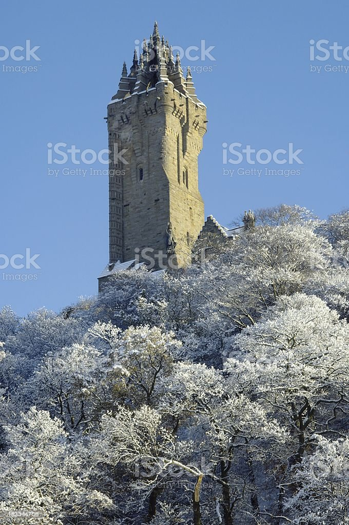 The Wallace Monument Stirling Scotland in Snow royalty-free stock photo