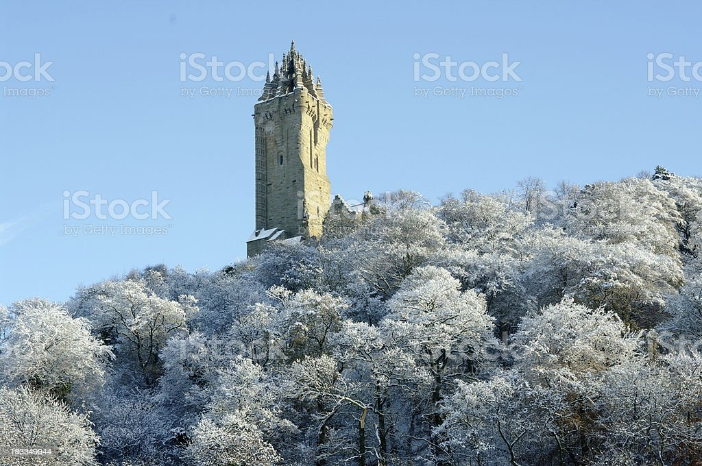 The Wallace Monument Stirling Scotland in Snow stock photo