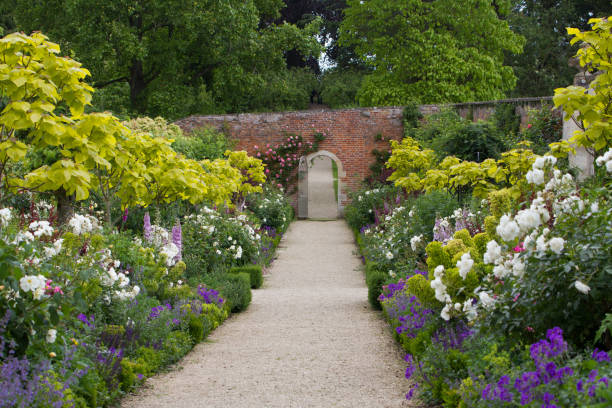 The Walled Garden at Buscot Park House in Oxfordshire stock photo