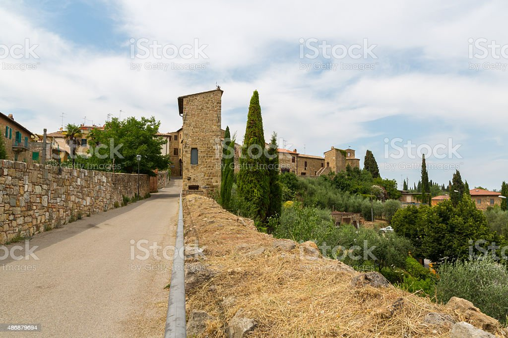 The walled town of San Quirico d'Orcia,  Tuscany, Italy stock photo