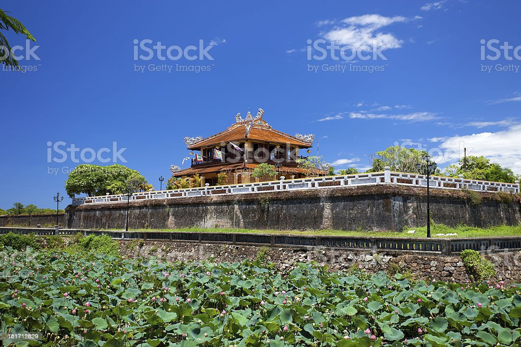 The Walls of Imperial City, or Citadel, in Hue, Vietnam stock photo