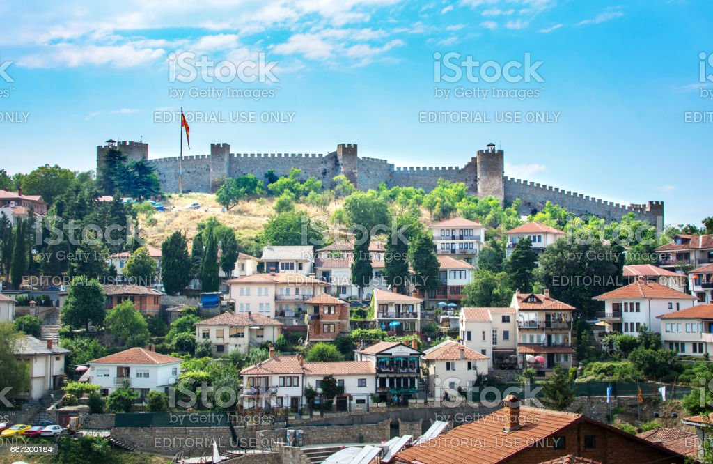 The walls of Samuel Fortress above houses of Ohrid old town stock photo