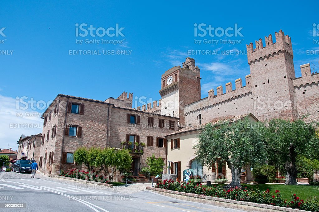 the walls of the beautiful city of gradara royaltyfri bildbanksbilder