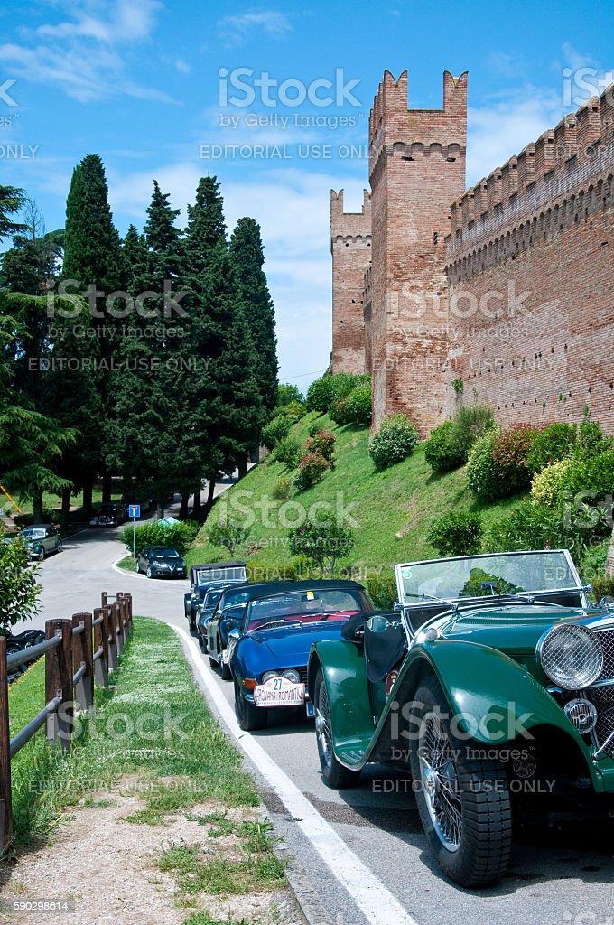 the walls of the beautiful city of gradara royaltyfri bildbanksbilder