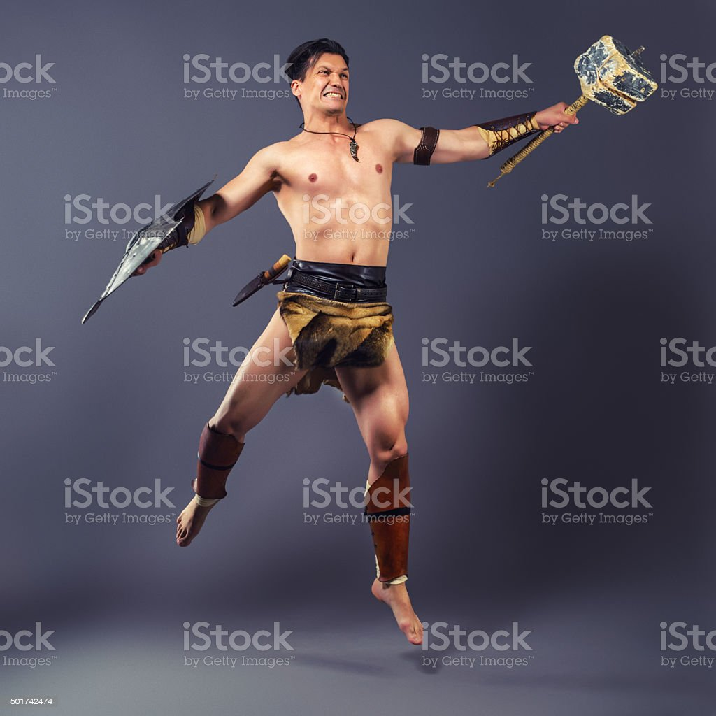 The warrior in the image of the ancient world. stock photo