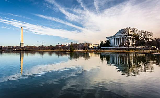 The Washington Monument and Thomas Jefferson Memorial reflecting stock photo
