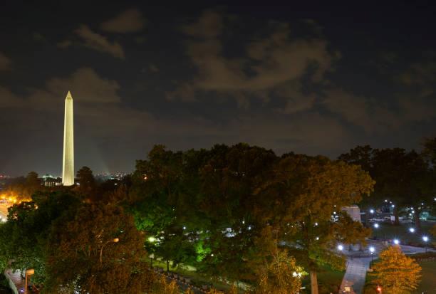 The Washington Monument During Twilight in Washington DC Capital of the USA stock photo