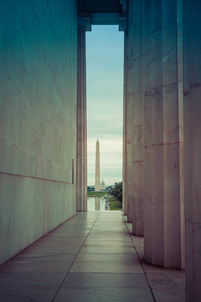 The Washington Monument framed in the distance stock photo