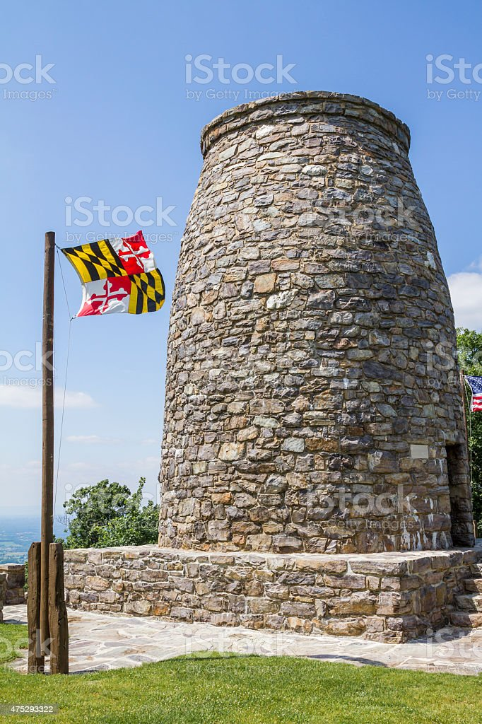 The Washington Monument In Rural Maryland State Flag Waving Stock ...