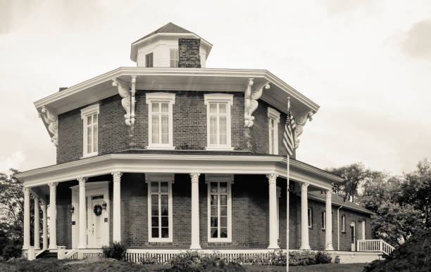 The Washington Octagon House also known as the Loren Andrus Octagon House in Macomb County, Michigan. stock photo