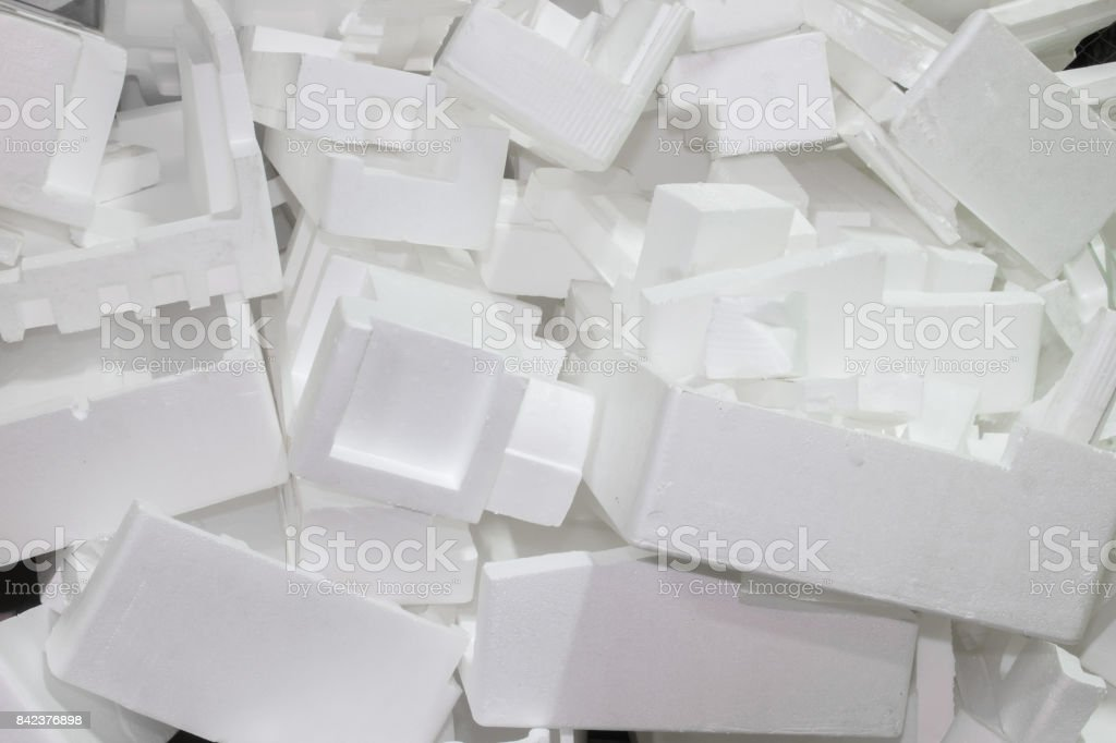 The waste pile of foam is not used. stock photo