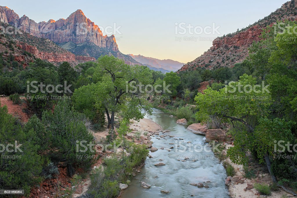The Watchman and Virgin River from the Canyon Junction Bridge, stock photo