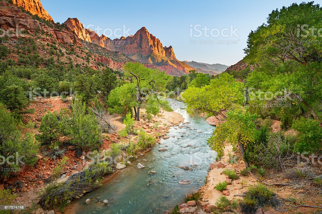The Watchman at Sunset in Zion National Park Utah USA stock photo