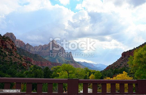 The watchman, seen from a bridge, Zion NP, Utah, USA
