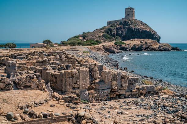 the watchtower of the nora penisula - sardegna foto e immagini stock