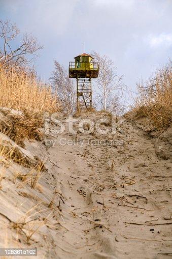 The Watchtower on sand dunes on the Baltic seashore, Kaliningrad region, Russia