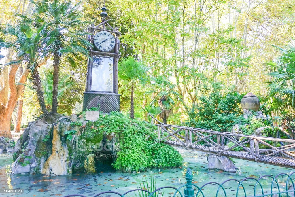 The Water Clock in Pincio Gardens in Rome Italy stock photo