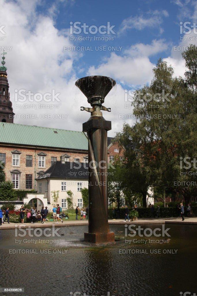 The water feature in Royal Library Garden - Copenhagen. stock photo