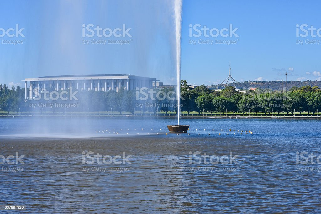 The water jet in the middle of the lake, Canberra stock photo