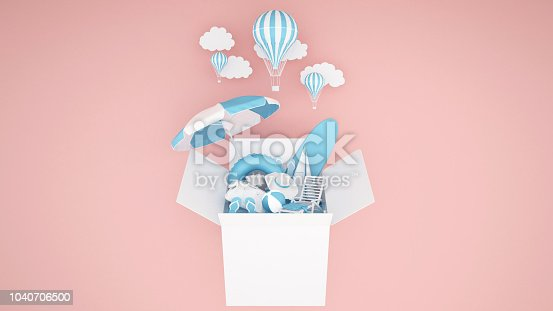 istock The water play equipment in the box and balloon on pink background - Rubber Boat ,Surfboard , ball , beach umbrellas and life rings in the box - Artwork for Summer season or balloon festival - 3D illustration 1040706500