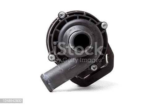 istock The water pump of the coolant pump is designed to provide forced circulation of antifreeze in the cooling system - from the engine to the radiator and vice versa. Black plastic spare part for sale. 1248542832