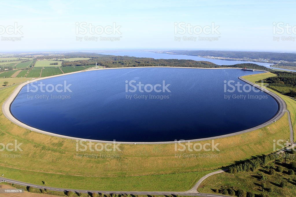 The water reservoir hydroelectric power station in Zarnowiec stock photo