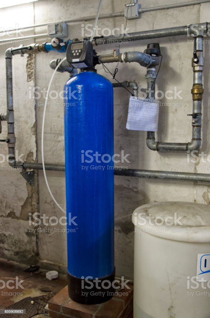 The water softener in a condominium stock photo