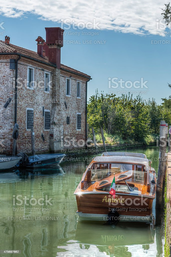The water taxi nicknamed 'Amore' is docked, Torcello, Italy stock photo