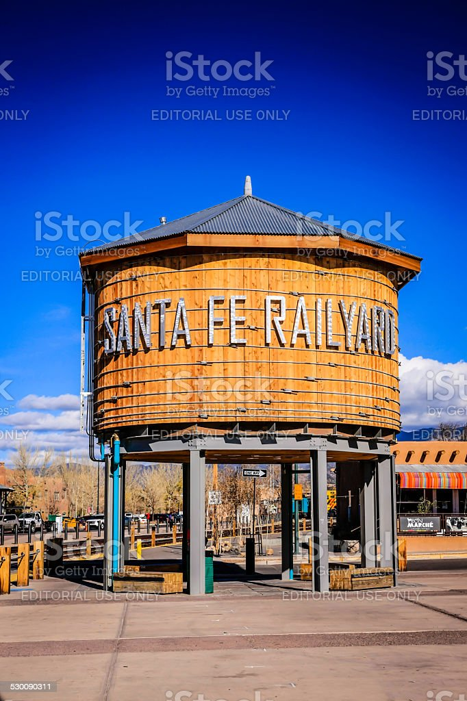 The Water Tower in the Railyard Park, Santa Fe, New Mexico stock photo