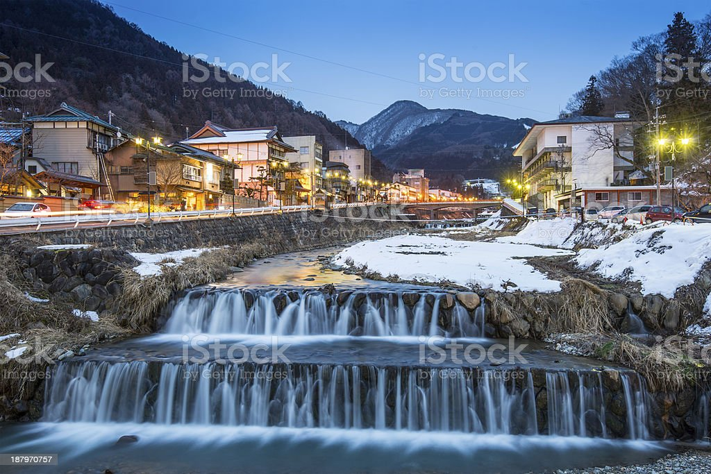 The waterfall and night life of Shibu Onsen stock photo