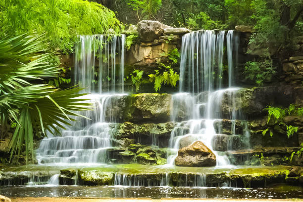 The Waterfall at Zilker Botanical Gardens in Austin, Texas stock photo