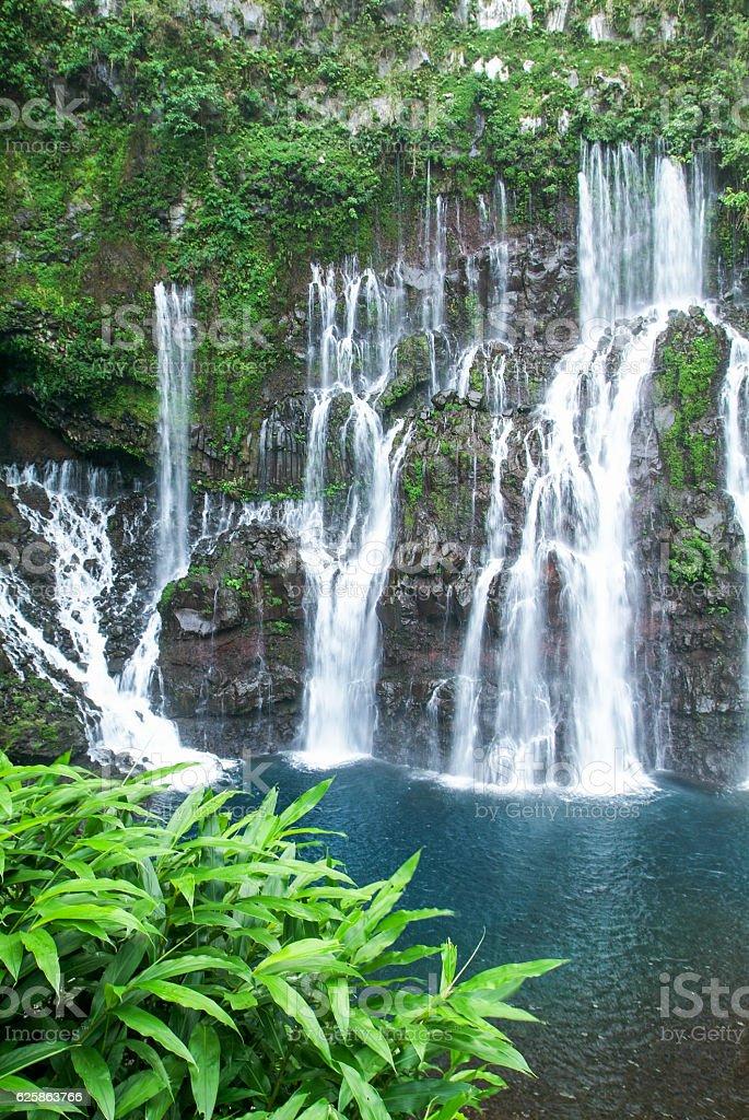 The waterfall of Langvin on La Reunion island stock photo