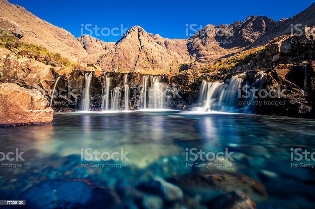 The waterfalls of the Fairy Pools, Isle of Skye, Scotland stock photo