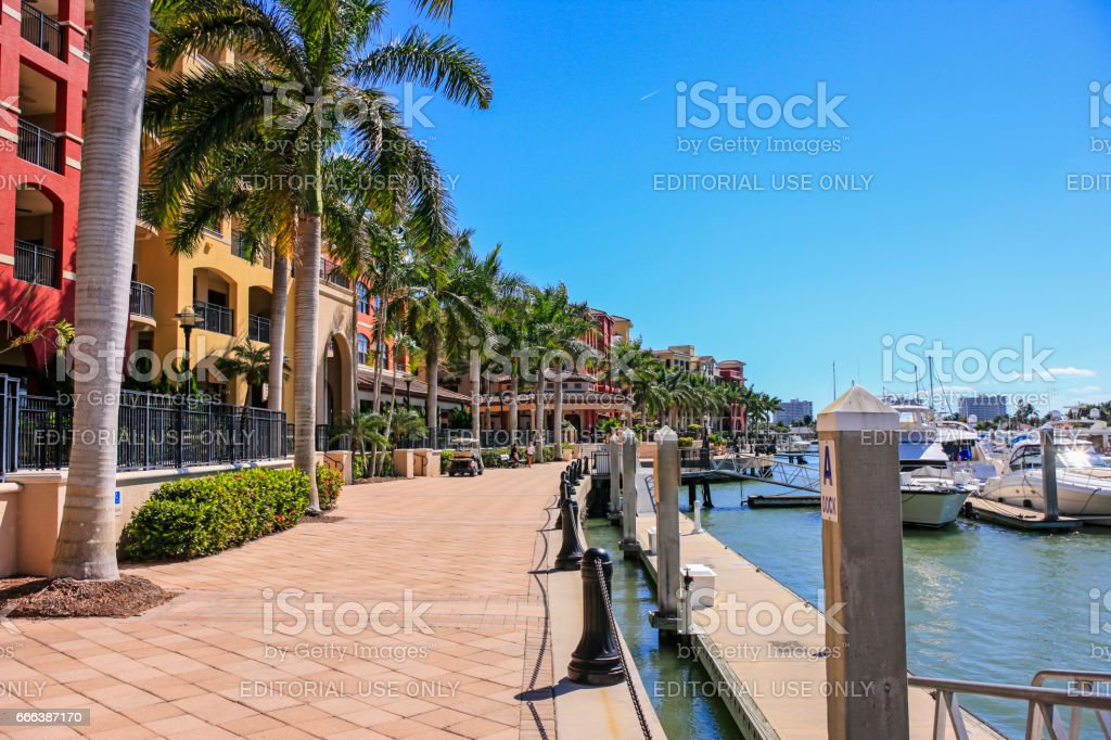 The waterfront along Smokehouse Bay on Marco island in Florida stock photo