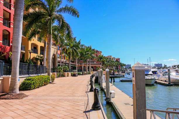 The waterfront along Smokehouse Bay on Marco island in Florida The waterfront along Smokehouse Bay on Marco island in Florida naples florida stock pictures, royalty-free photos & images