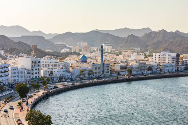 The waterfront and harbor in Muttrah. stock photo