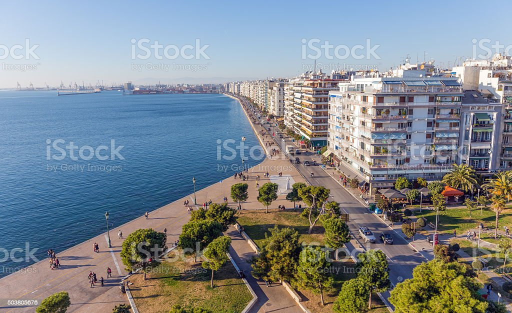 The waterfront of Thessaloniki, Greece stock photo