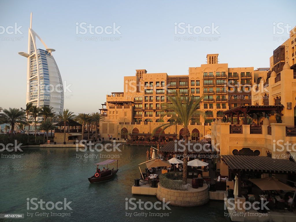 The waterways of Madinate Jumeriah and the Burj Al Arab Hotel stock photo