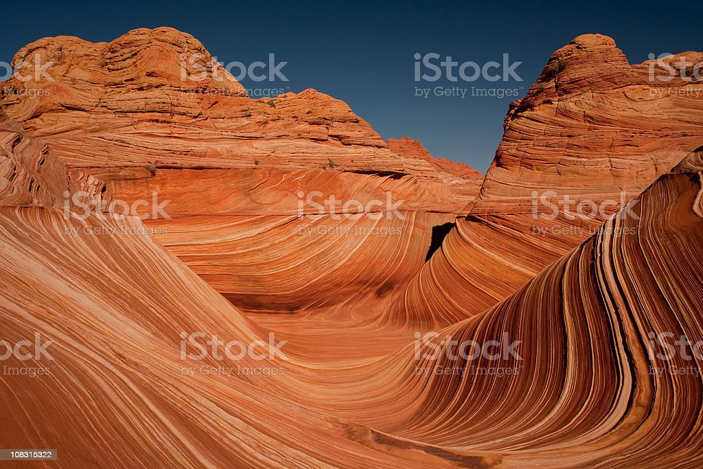 The Wave at Coyote Buttes with Swirling Shapes royalty-free stock photo