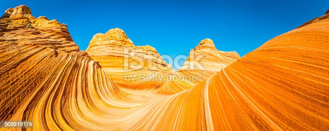 The vibrant swirling strata and iconic curving canyons of The Wave, the landmark rock formation deep in the Vermillion Cliffs wilderness of Arizona and Utah, Southwest USA. ProPhoto RGB profile for maximum color fidelity and gamut.