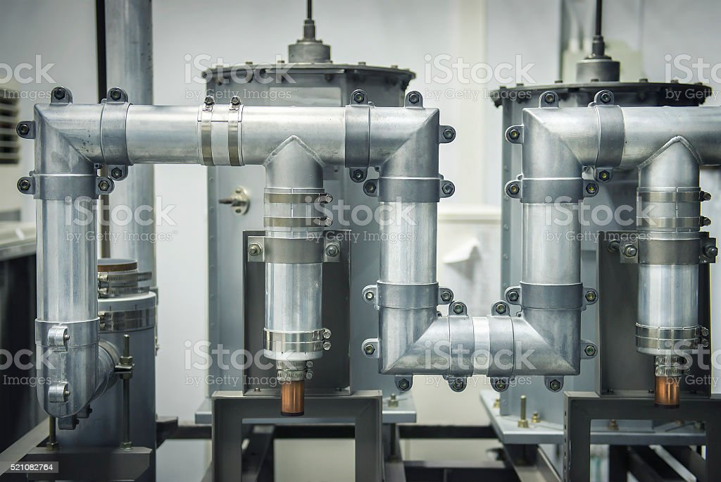 The waveguide cable networks for broadcasting. stock photo